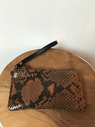 Camel Ziplet Leather Snake Wallet - Jijou Capri
