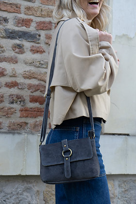 Anthracite Milly Suede Leather Crossbody Bag - Jijou Capri