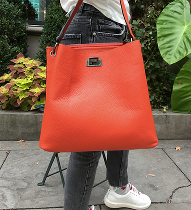 Montecarlo Orange Grained Leather Handbag - Jijou Capri