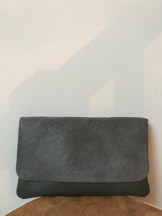 Grey Sally Patta Pony Leather Clutch - Jijou Capri