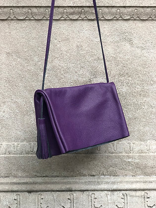 Sauvage Leather Crossbody Bag Purple - Jijou Capri