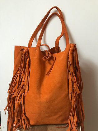 Orange Fringes Suede Leather Tote Bag - Jijou Capri