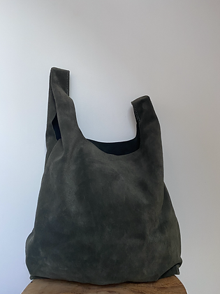 Forest Green Tokyo suede leather handbag- Jijou Capri