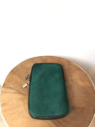 Cellphone Green Pony Leather Wallet - Jijou Capri