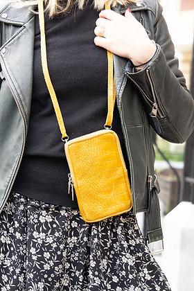 Cellphone Mustard Leather Croco Wallet - Jijou Capri