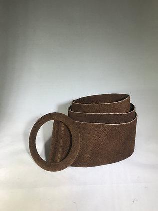 Elle Suede Leather Belt Brown 37 - Jijou Capri