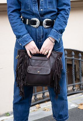 Mariella Brown Fringes Vintage Leather Handbag - Jijou Capri