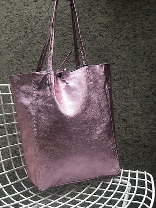 Metallic Pink Leather Tote - Jijou Capri