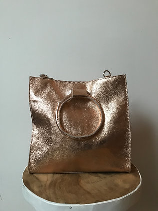 Pink Gold Momi Metallic Leather Handbag - Jijou Capri