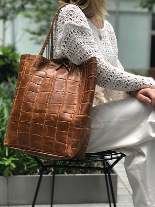 Leather Croco Embossed Tote Bag