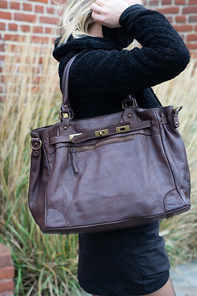 Classic Brown Sophia Vintage Leather Handbag - Jijou Capri