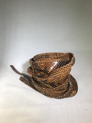 Kimono Leather Snake Printed Belt Brown 6 - Jijou Capri