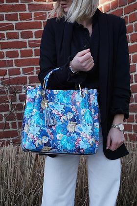 Flowers Pompom Leather Handbag