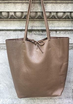 Brown Leather Tote Bag - Jijou Capri