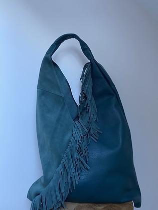 Gisele Turquoise boho Fringes Leather Tote bag - Jijou Capri