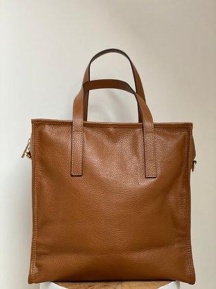 Camel Babylone grained Leather Handbag - Jijou Capri