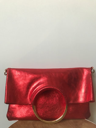 Twiggy Red Metallic Leather Handbag - Jijou Capri