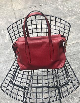Belfort Red Grained Leather Handbag - Jijou Capri
