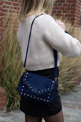 Navy Tabby Suede Leather Handbag - Jijou Capri