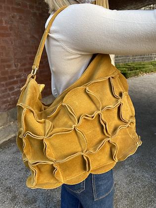 Mustard Helbert suede blossom Leather Handbag - Jijou Capri