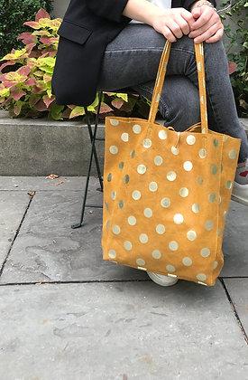Big Golden Dots Mustard Tote Bag - Jijou Capri