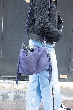 Navy Terry Suede Fringes Leather Handbag - Jijou Capri