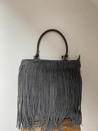 Grey Jungle Suede leather handbag - Jijou Capri