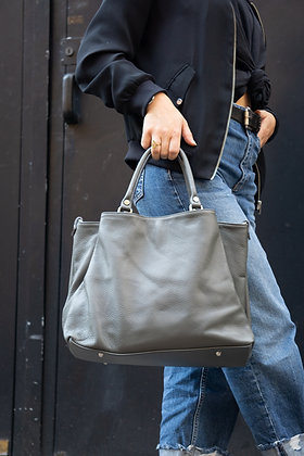 Grey Margaret Leather Handbag - Jijou Capri