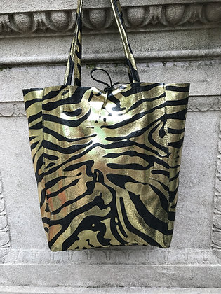 Big Zebra Gold Tote Bag- Jijou Capri