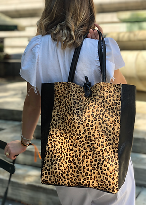 Leather Half Pony Mini Cheetah Tote Bag - Jijou Capri