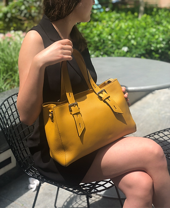 Mustard Colonia Leather Handbag - Jijou Capri