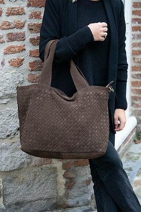Athena Chocolate Suede Vintage leather handbag - Jijou Capri