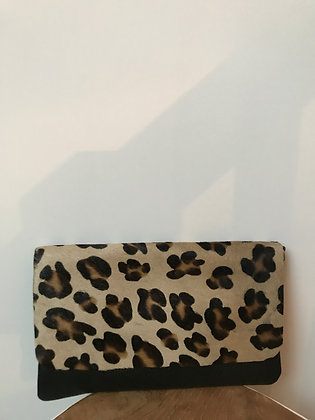 Leopard Sally Patta Pony Leather Clutch - Jijou Capri
