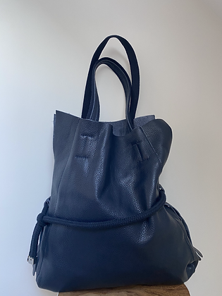 Navy Adelmo leather handbag - Jijou Capri