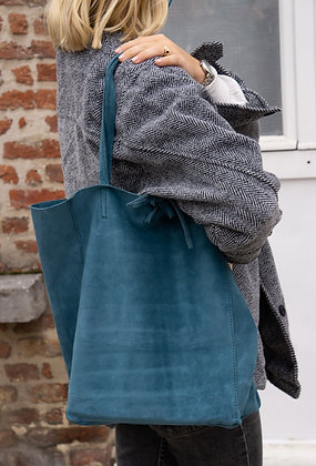 Turquoise Suede Leather Tote Bag - Jijou Capri