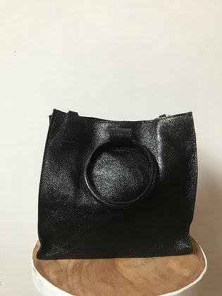 Black Momi Metallic Leather Handbag - Jijou Capri