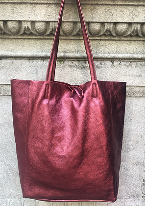 Metallic Wine Leather Tote - Jijou Capri