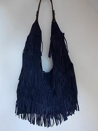 Navy Anabelle Fringes Suede Leather Tote bag - Jijou Capri