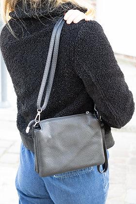 Elvira Grained Black Leather Crossbody bag - Jijou Capri
