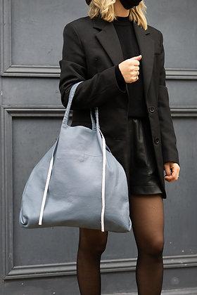 Blue Odette Leather Tote Bag - Jijou Capri