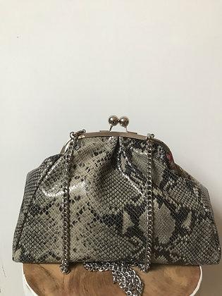 Cherie Beige leather Snake Crossbody bag - Jijou Capri