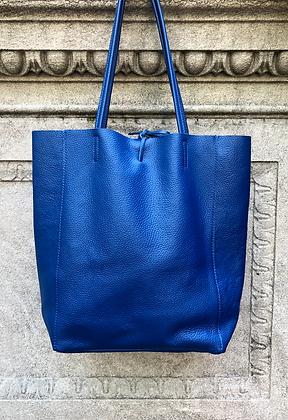 Royal Blue Leather Tote Bag - Jijou Capri