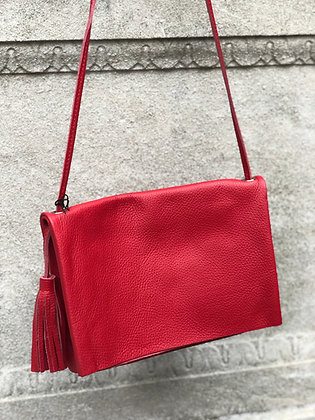 Sauvage Leather Crossbody Bag Red - Jijou Capri