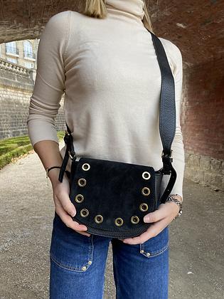 Basilea Black suede leather Crossbody Bag - Jijou Capri