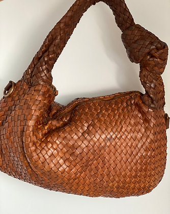 Camel Cathy Woven vintage Leather Handbag - Jijou Capri