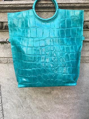 Turquoise Vancouver Medium Croco - Jijou Capri
