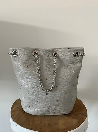 Grey Liliana Bucket Studs Crossbody Bag - Jijou Capri