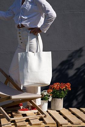 White Grained Leather Tote Bag - Jijou Capri