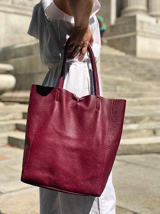 Wine Leather Tote Bag - Jijou Capri