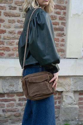 Lou Taupe Suede Leather Crossbody Bag - Jijou Capri
